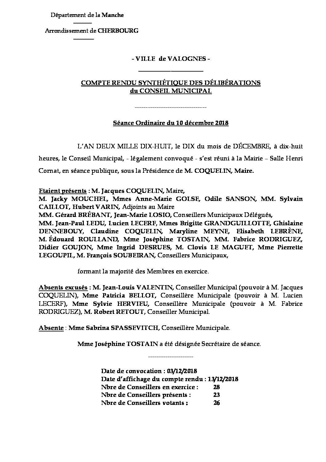 Compte rendu de Conseil Municipal - Compte rendu synthétique des questions soumises à délibération lors de la séance du Conseil Municipal du 10 décembre 2018.