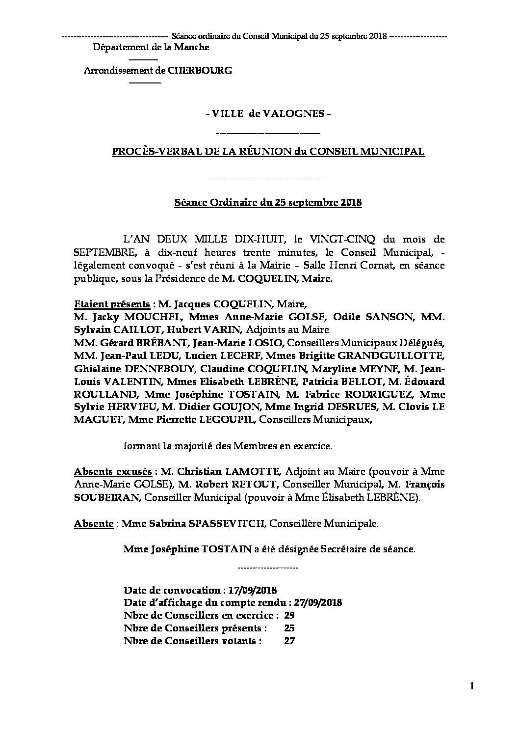 Procès-verbal de Conseil Municipal - Procès-verbal de la réunion du Conseil Municipal du 25 septembre 2018, approuvé à l'unanimité lors de la séance du 10 décembre 2018.