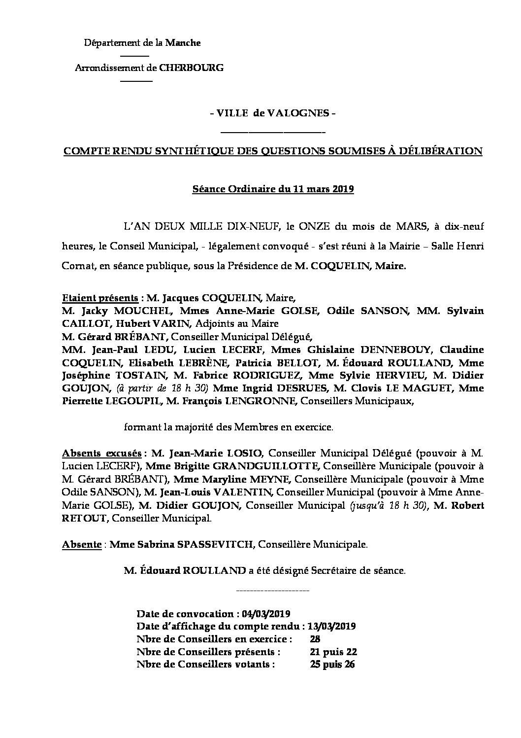 Compte rendu synthétique du Conseil Municipal du 11 mars 2019 - Compte rendu synthétique des questions soumises à délibération lors de la séance du Conseil Municipal du 11 mars 2019.