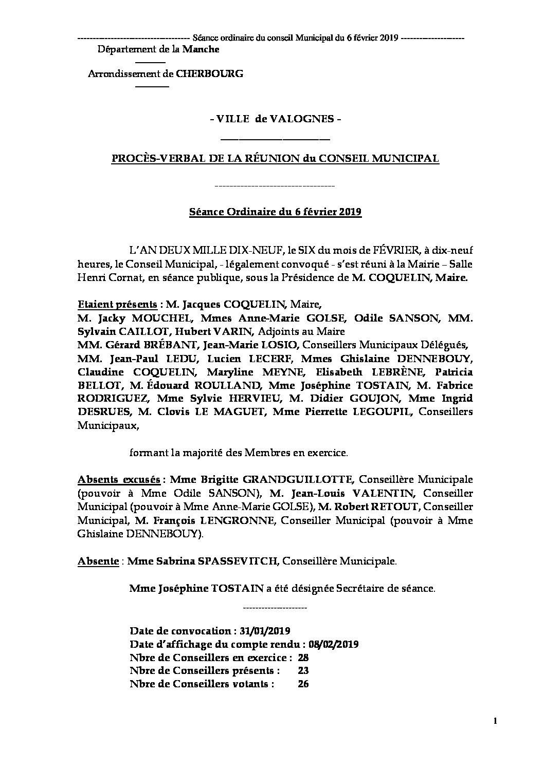 Procès-verbal de la séance du 6 février 2019 - Procès-verbal de la réunion du Conseil Municipal du 6 février 2019, approuvé à l