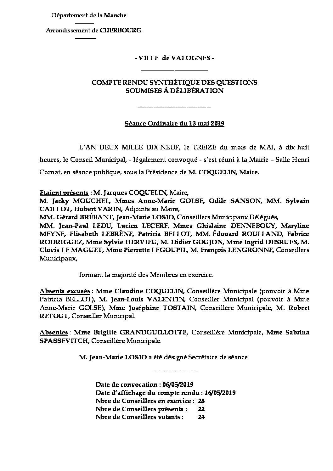 Compte rendu synthétique CM 13 05 19 - Compte rendu synthétique des questions soumises à délibération lors de la réunion du Conseil Municipal du 13 mai 2019.