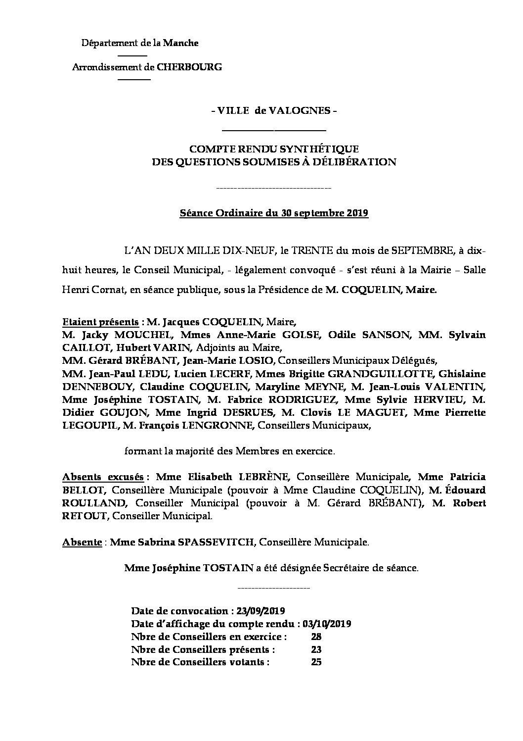 compte rendu synthétique 30 09 19 - Compte rendu synthétique des questions soumises à délibération lors de la séance du 30 septembre 2019.