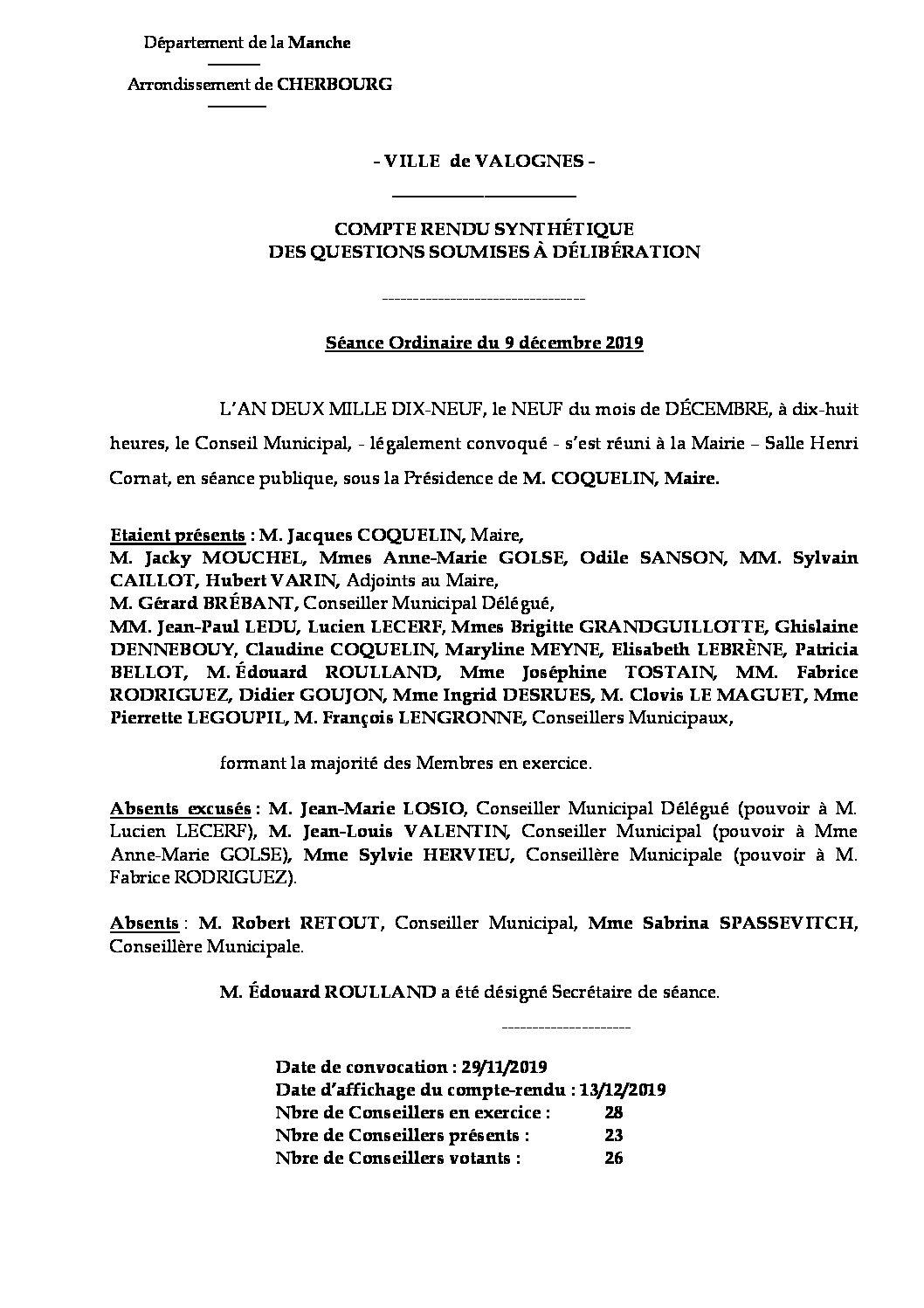 Compte rendu synthétique 09 12 19 - Compte rendu synthétique des questions soumises à délibération lors de la séance du Conseil Municipal de 9 décembre 2019.