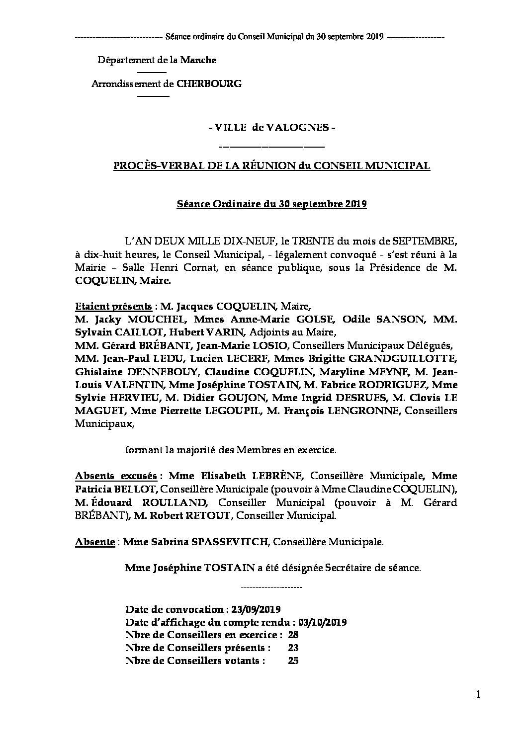 Procès-verbal de séance du CM du 30 09 19 - Procès-verbal de la réunion du Conseil Municipal du 30 septembre 2019, approuvé à l
