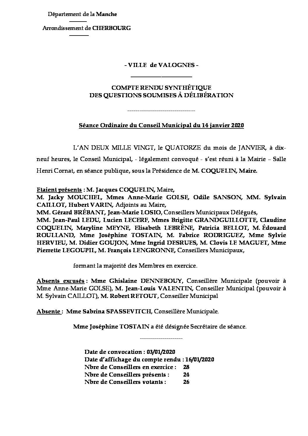 Compte rendu synthétique 14 01 20 - Compte rendu synthétique des questions soumises à délibération lors de la réunion ordinaire de Conseil Municipal du 14 janvier 2020.