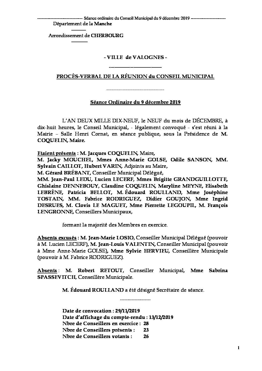 Procès-verbal de séance 09 12 19 - Procès-verbal de la réunion ordinaire du Conseil Municipal du 9 décembre 2019, approuvé à l