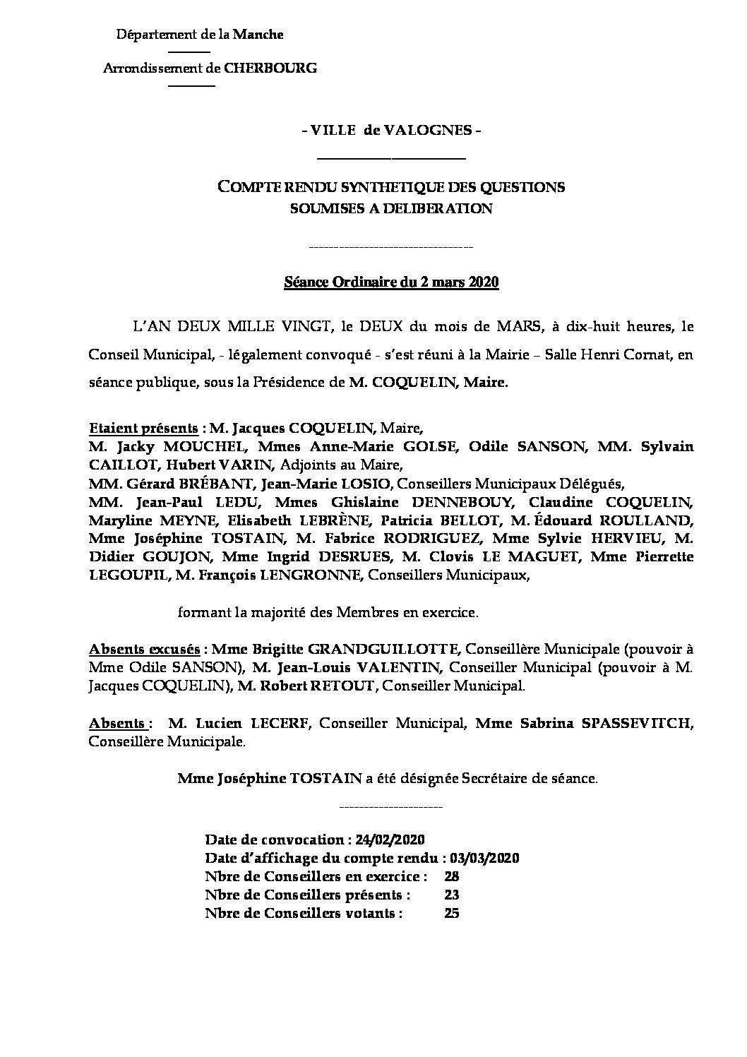Compte rendu synthétique CM 02 03 20 - Compte rendu synthétique des questions soumises à délibération lors de la séance du Conseil Municipal du 2 mars 2020.