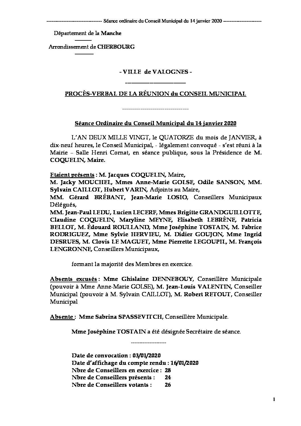 Procès-verbal de séance 14 01 20 - Procès-verbal de la réunion du Conseil Municipal du 14 janvier 2020 approuvé à l