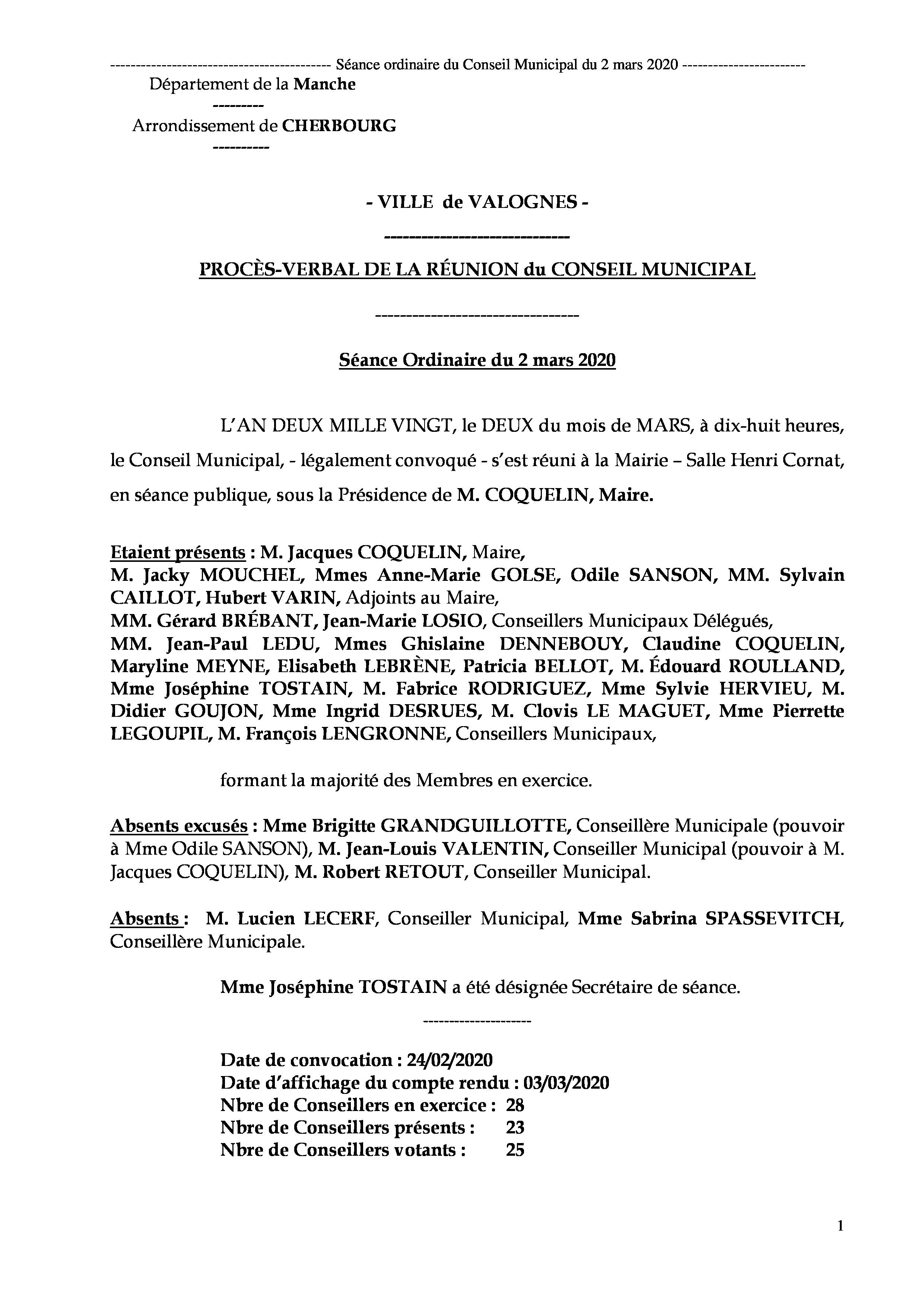 Procès-verbal de séance 02 03 20 - Procès-verbal de la réunion du Conseil Municipal du 2 mars (dernière séance de la mandature 2014-2020)