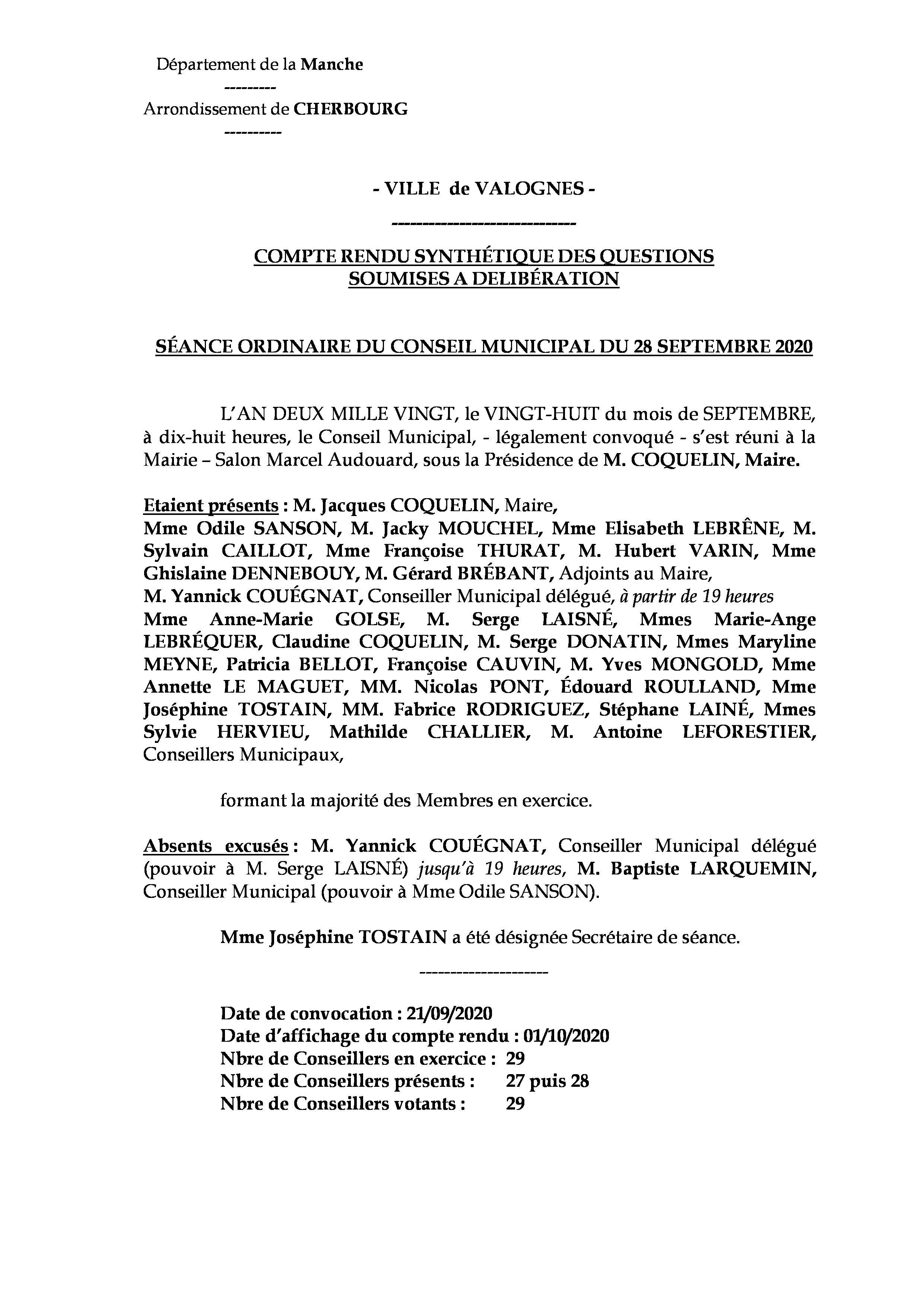 Compte rendu synthétique 28 09 20 - Compte rendu synthétique des questions soumises à délibération lors de la séance du 28 septembre 2020.
