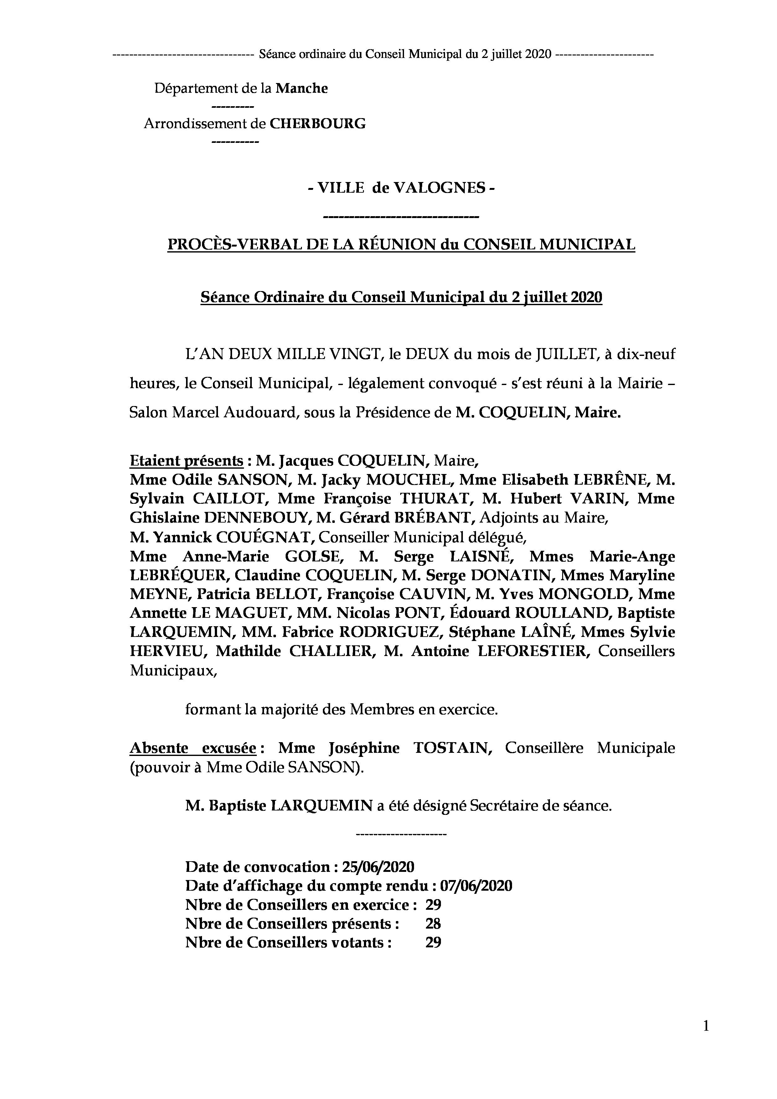 Procès-verbal CM 02 07 20 - Procès-verbal de la réunion du Conseil Municipal du 2 juillet 2020, approuvé à l