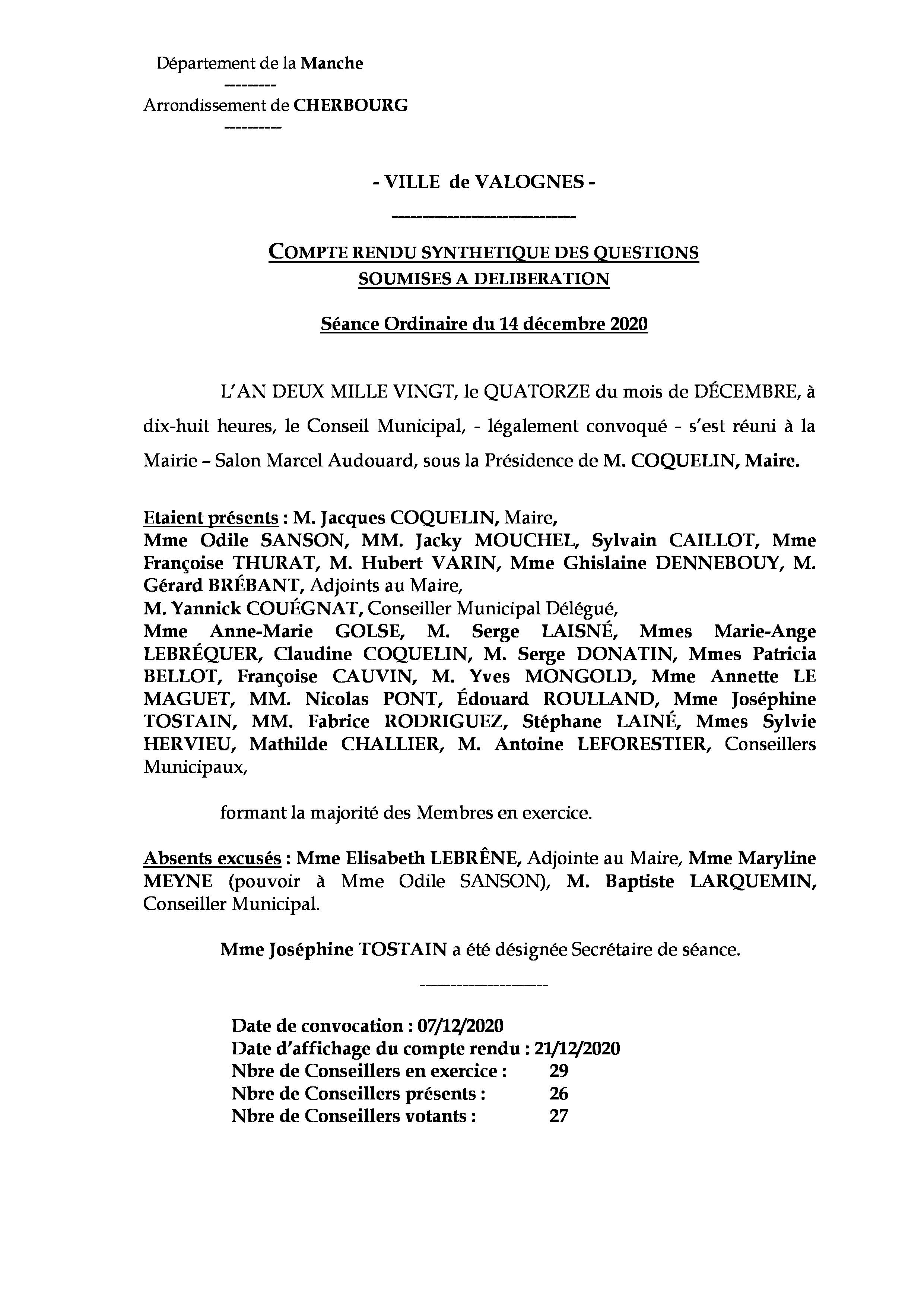 Compte rendu synthétique 14 12 20 - Compte rendu synthétique des questions soumises à délibération lors de la réunion du Conseil Municipal du 14 décembre 2020.