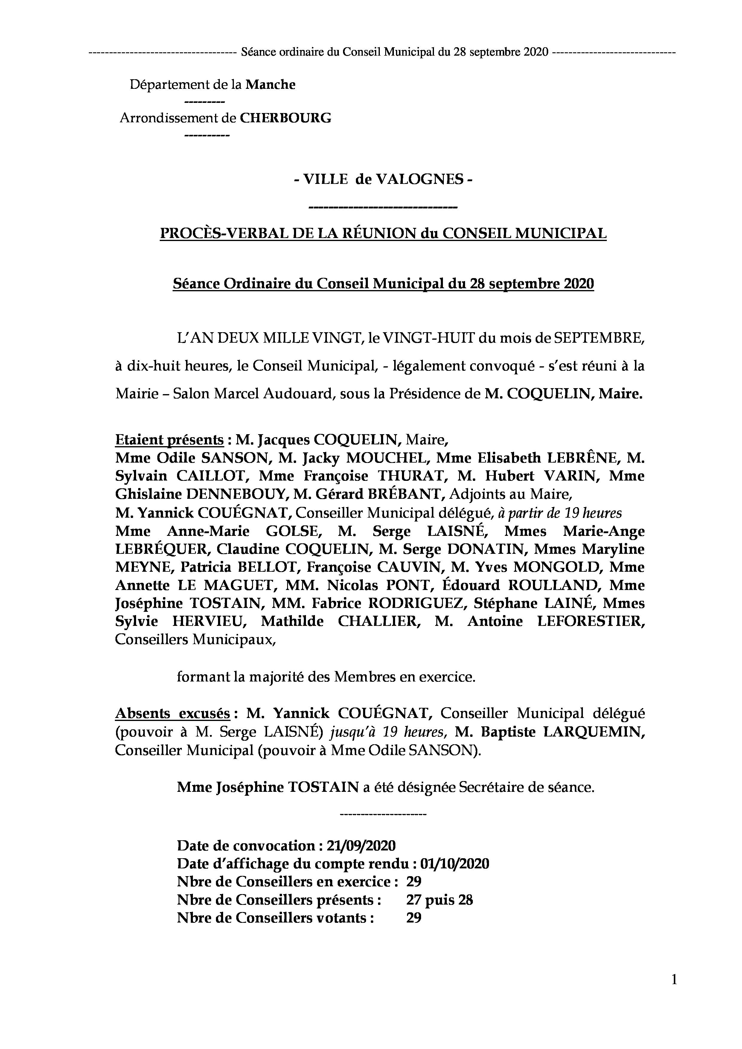 Procès-verbal CM 28 09 20 - Procès-verbal de la réunion du Conseil Municipal du 28 septembre 2020, approuvé à l