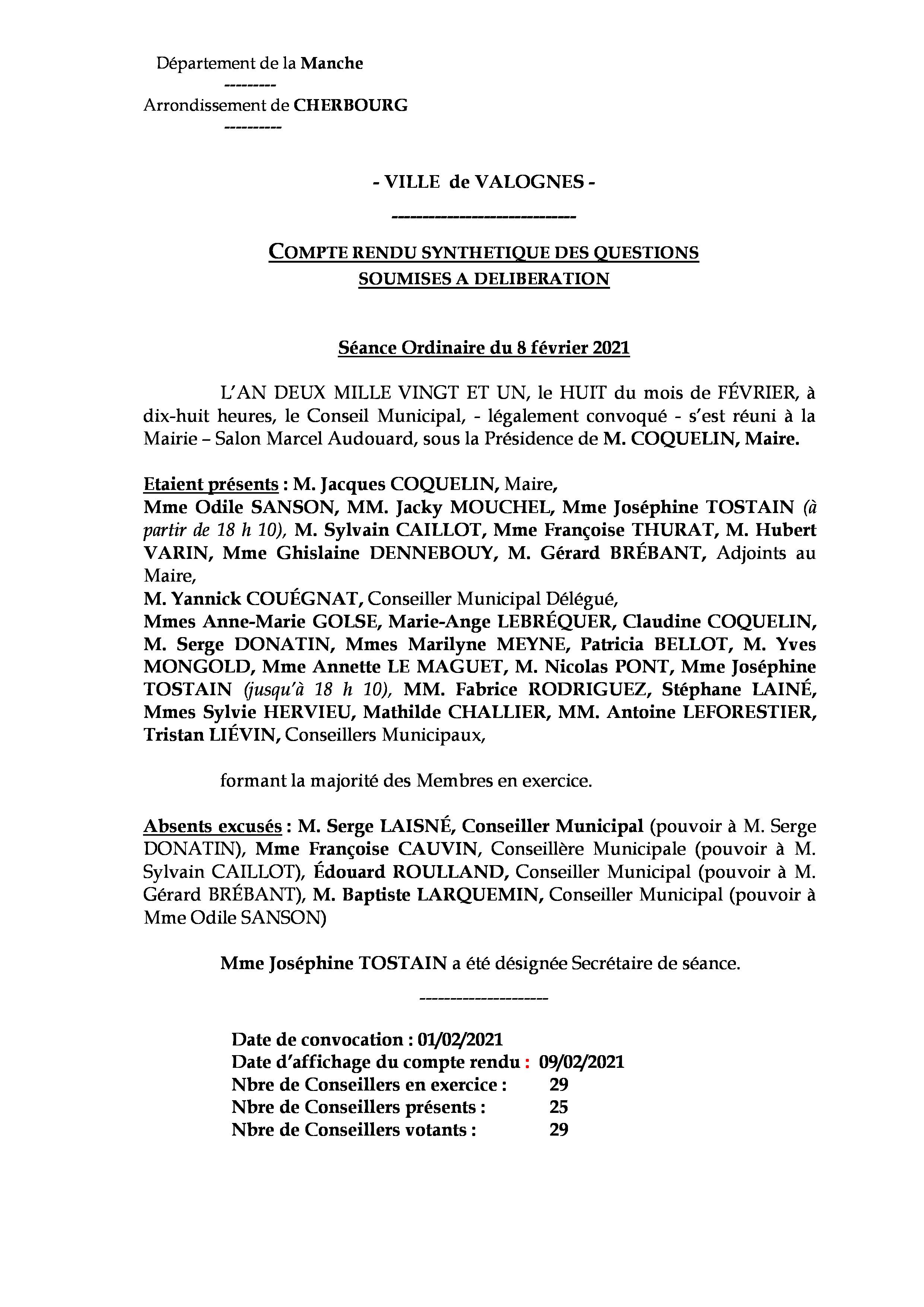 compte rendu synthétique 08 02 21 - Compte rendu synthétique des questions soumises à délibération lors de la séance du 8 février 2021.