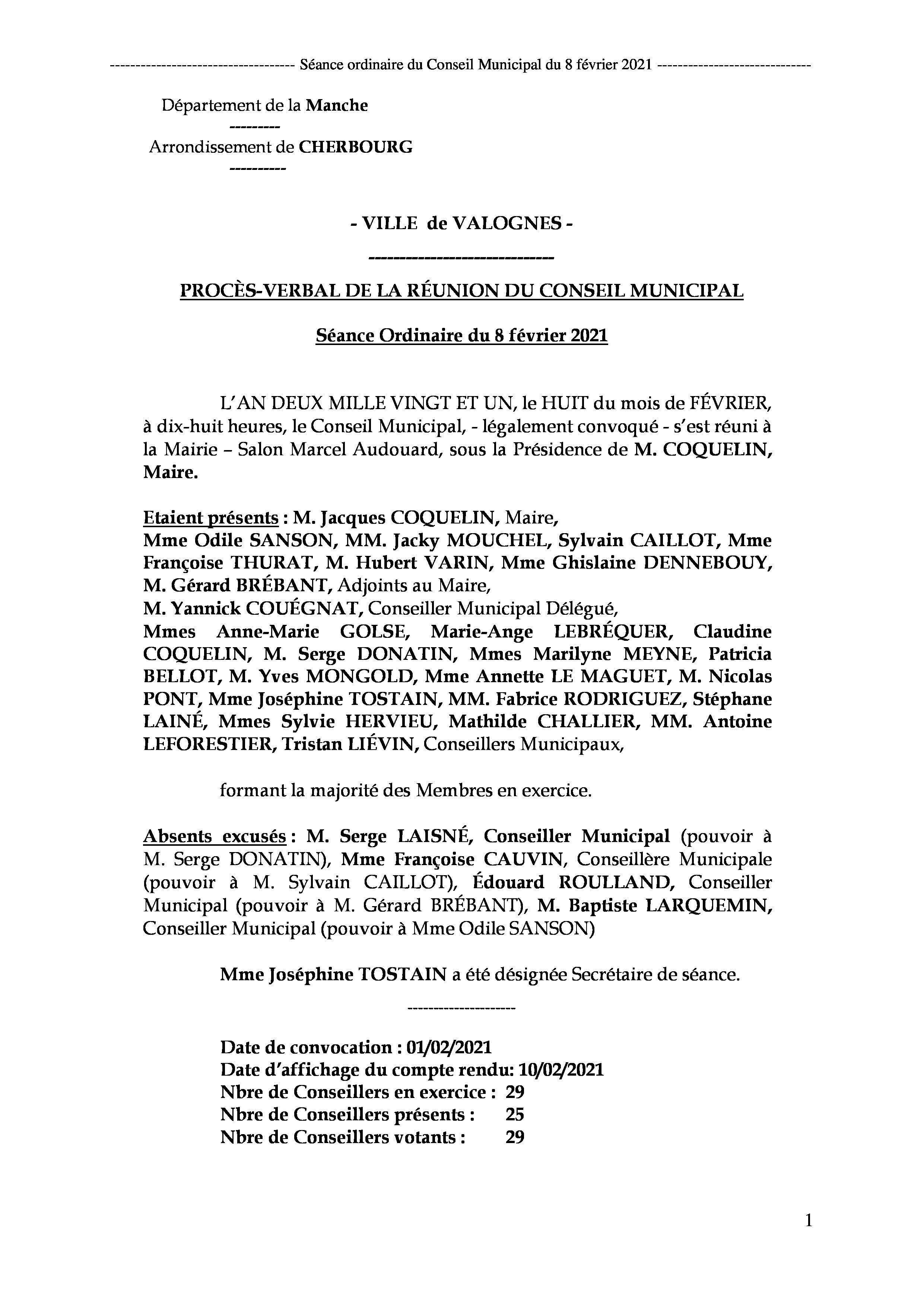 PV de la séance du 8 février 2021 - Procès-verbal de la réunion ordinaire du Conseil Municipal du 8 février 2021, approuvé à l