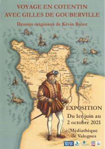 Voyage en Cotentin avec Gilles de Gouberville - Affiche expo médiathèque