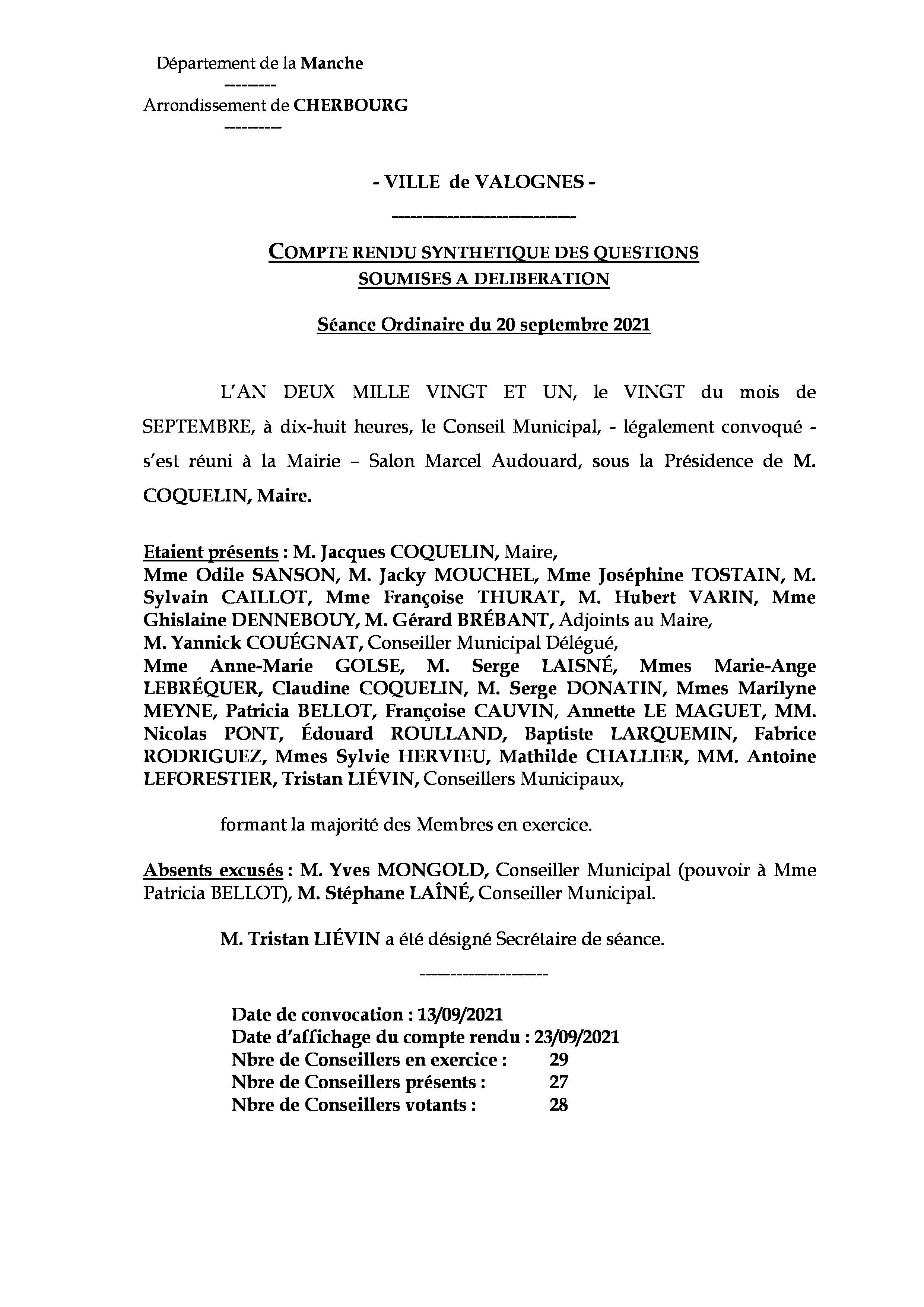 Compte rendu synthétique CM 20 09 21 - Compte rendu synthétique des questions soumises à délibération lors de la séance du Conseil Municipal du 20 septembre 2021.